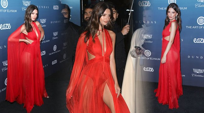 Emily Ratajkowski wearing sexy red dress showing off her legs and boobs