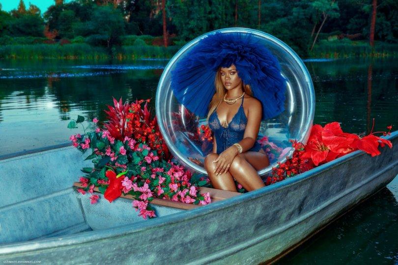 Rihanna Sexy Sheer Blue Underwear