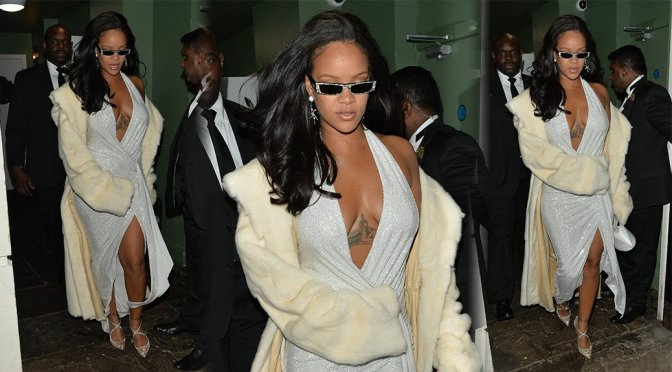 Rihanna – Braless Candids at Annabells Mayfair in London