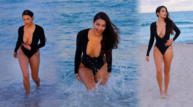 Tao Wickrath – Big Boobs on the Beach in Miami