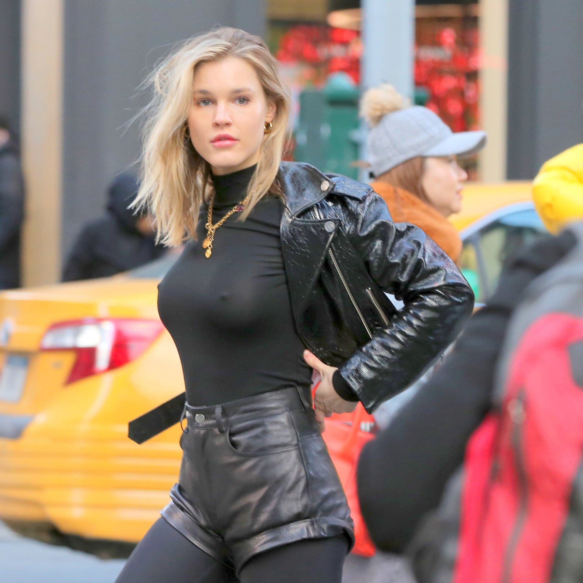 Joy Corrigan – Braless Photoshoot Candids in  New York