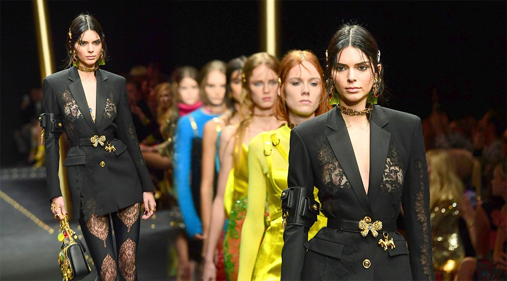 Kendall Jenner - Braless See-Through at Versace Fashion Show in Milan