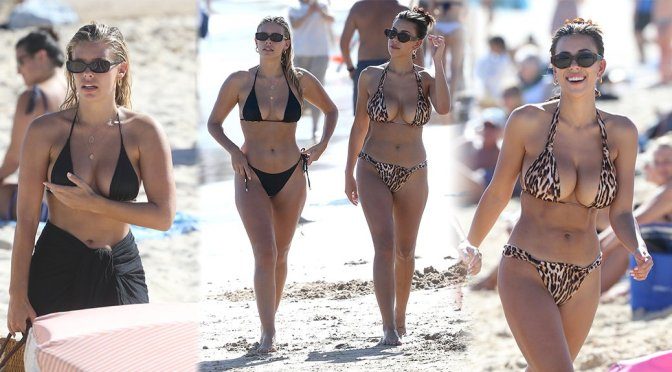 Devin Brugman and Natasha Oakley in Bikinis at Bondi Beach in Sydney