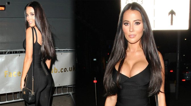 Yazmin Oukhellou – Big Cleavage Candids at Faces Nightclub in London