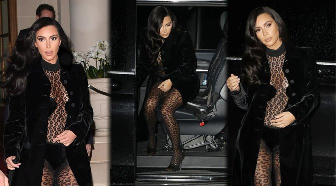 Kim Kardashian Sexy Sheer Outfit