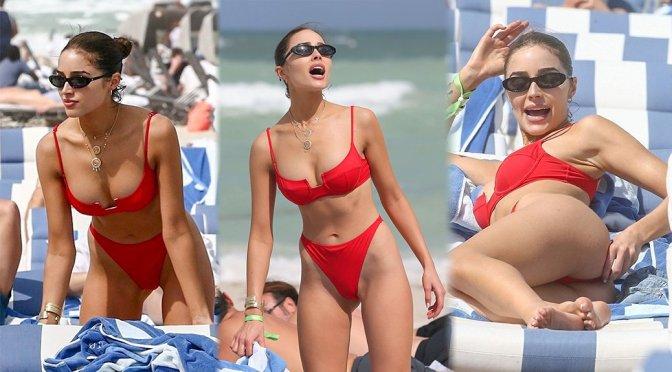 Olivia Culpo – Red Bikini Candids in Miami