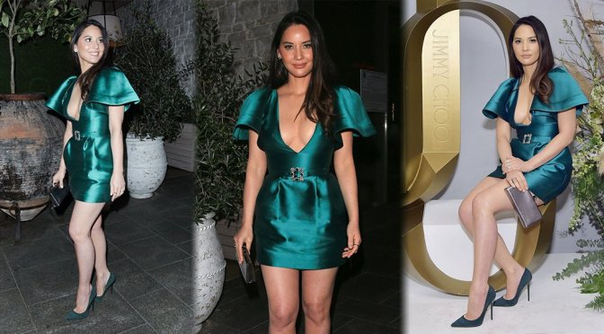 Olivia Munn Show Off Big Breasts In Sexy Dress