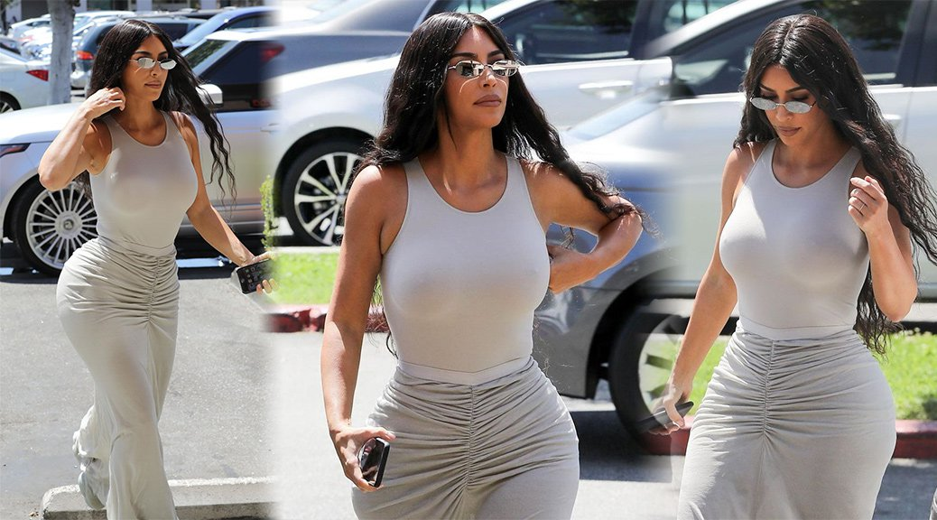 Kim Kardashian - Sexy Braless Boobs at BurgerIM in Los Angeles