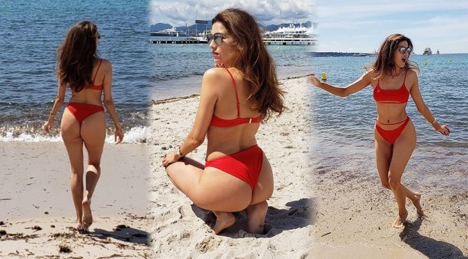Blanca Blanco – Red bikini Photoshoot in Cannes