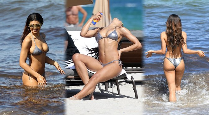 Danielle Herrington – Bikini Candids on the Beach in Miami