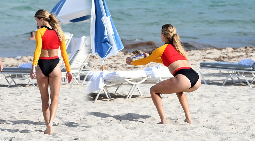 Eugenie Bouchard - Bikini Workout on the Beach in Miami
