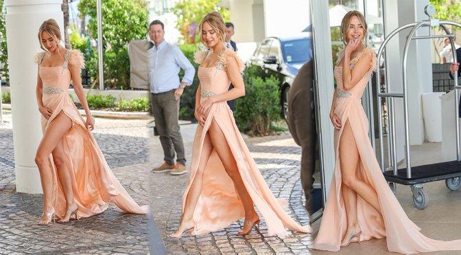 Kimberley Garner – Sexy Upskirt Candids in Cannes