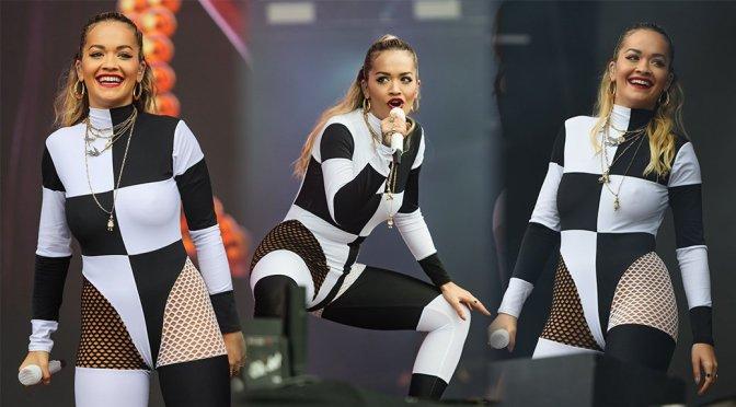 Rita Ora Braless Performing at BBC Biggest Weekend in Swansea
