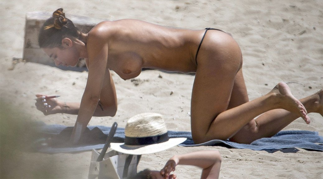 Valentina Fradegrada - Topless Paparazzi Pictures at the beach in Ibiza