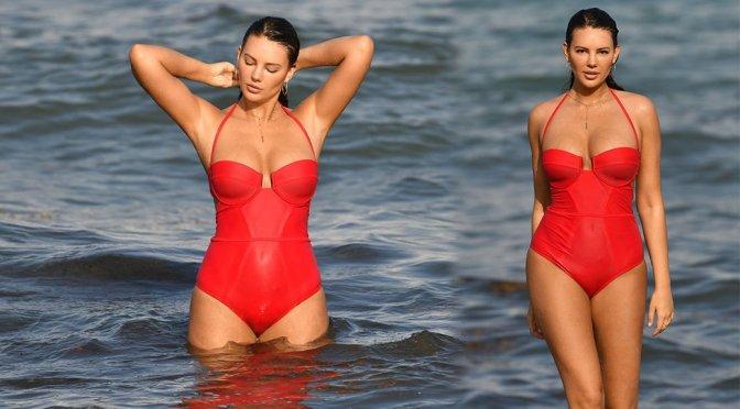 Zita Vass – Sexy Red Swimsuit Candids in Miami Beach