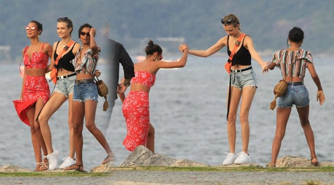 Josephine Skriver, Jasmine Tookes, Lais Ribeiro – Photoshoot Candids in Rio de Janeiro
