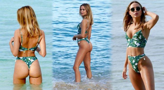 Kimberley Garner – Sexy Thong BIkini Candids at a Beach in St Tropez
