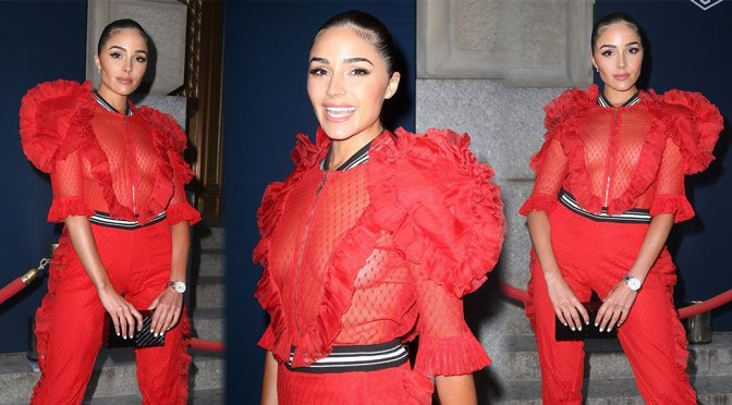 Olivia Culpo – Braless at Tag Heuer Event in New York