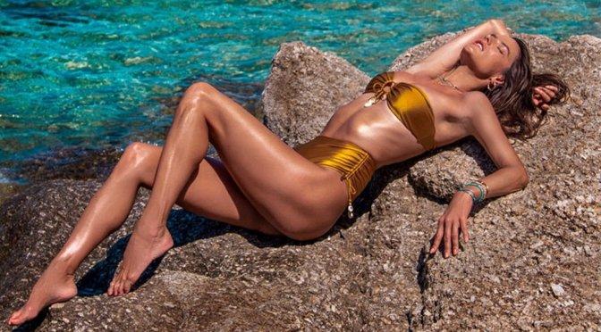 Alessandra Ambrosio – Sexy Gold Bikini Photoshoot