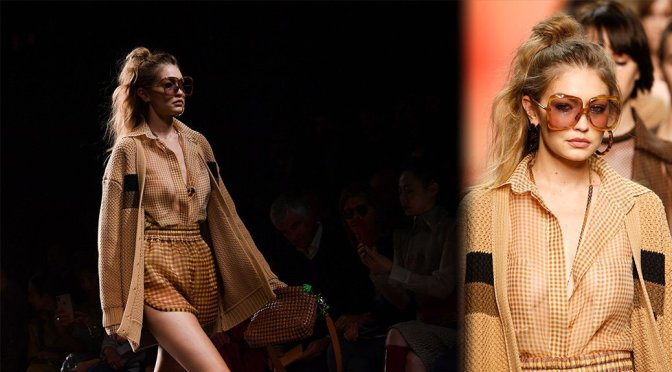 """Gigi Hadid – Braless at """"Fendi"""" Fashion Show in Milan"""