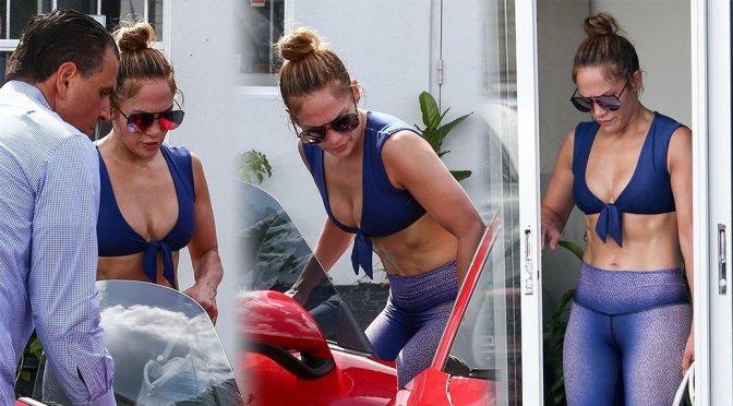 Jennifer Lopez - Sexy Boobs at Yoga in Miami Beach