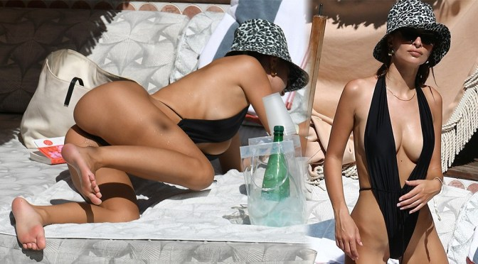 Emily Ratajkowski Perfect Body In Skimpy Monokini
