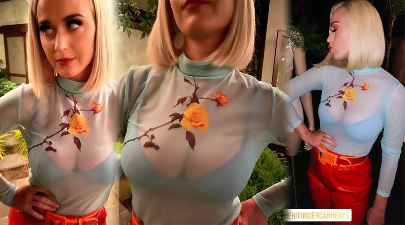 Katy Perry Sexy Big Boobs In Blue Bra