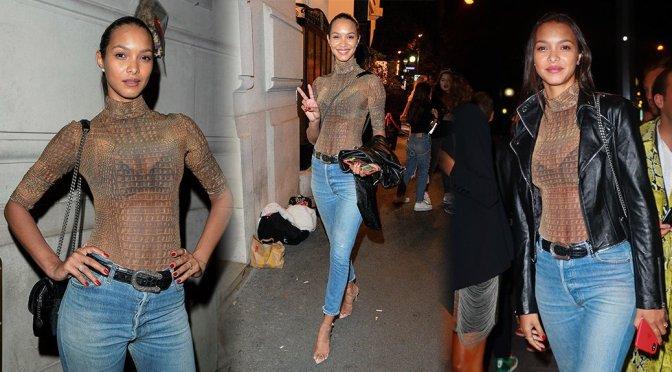Lais Ribeiro – Sexy Sheer Top at Lutetia Pop Up Club in  Paris