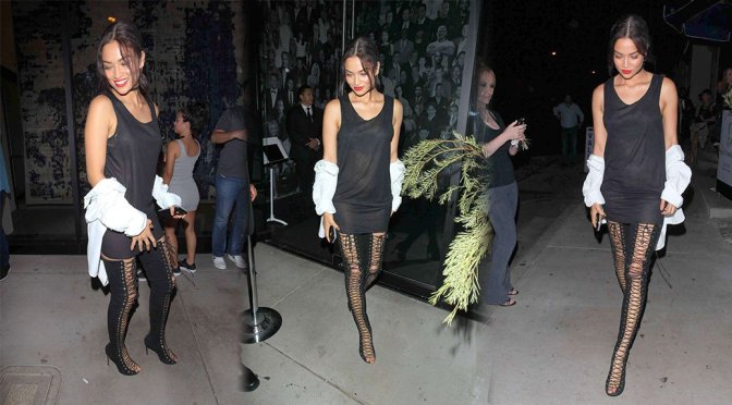 Shanina Shaik – Sexy Black Boots at The Catch in West Hollywood