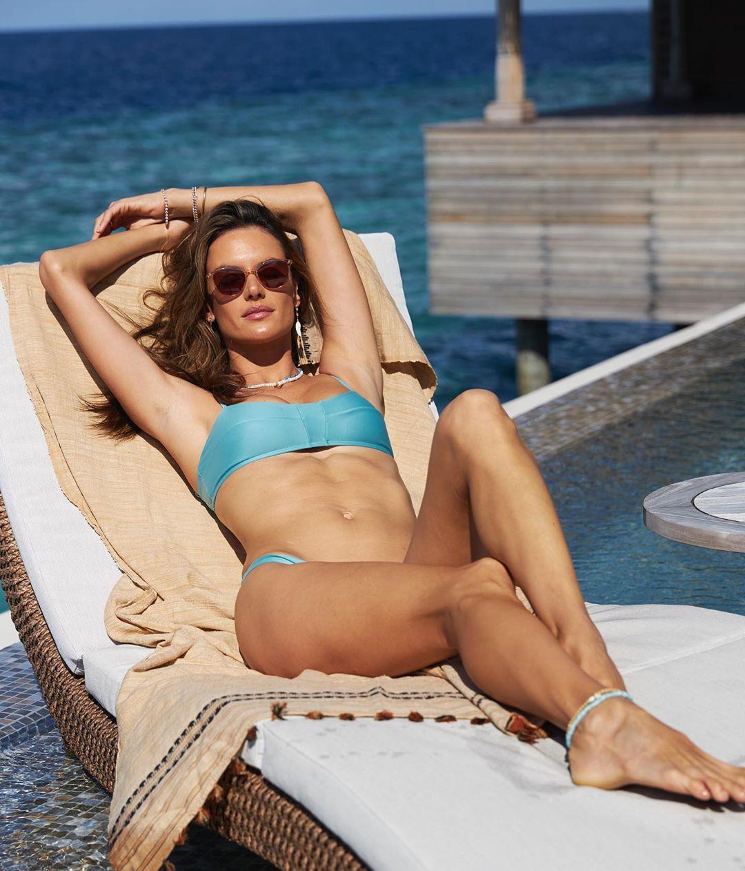 Alessandra Ambrosio Blue Bikini