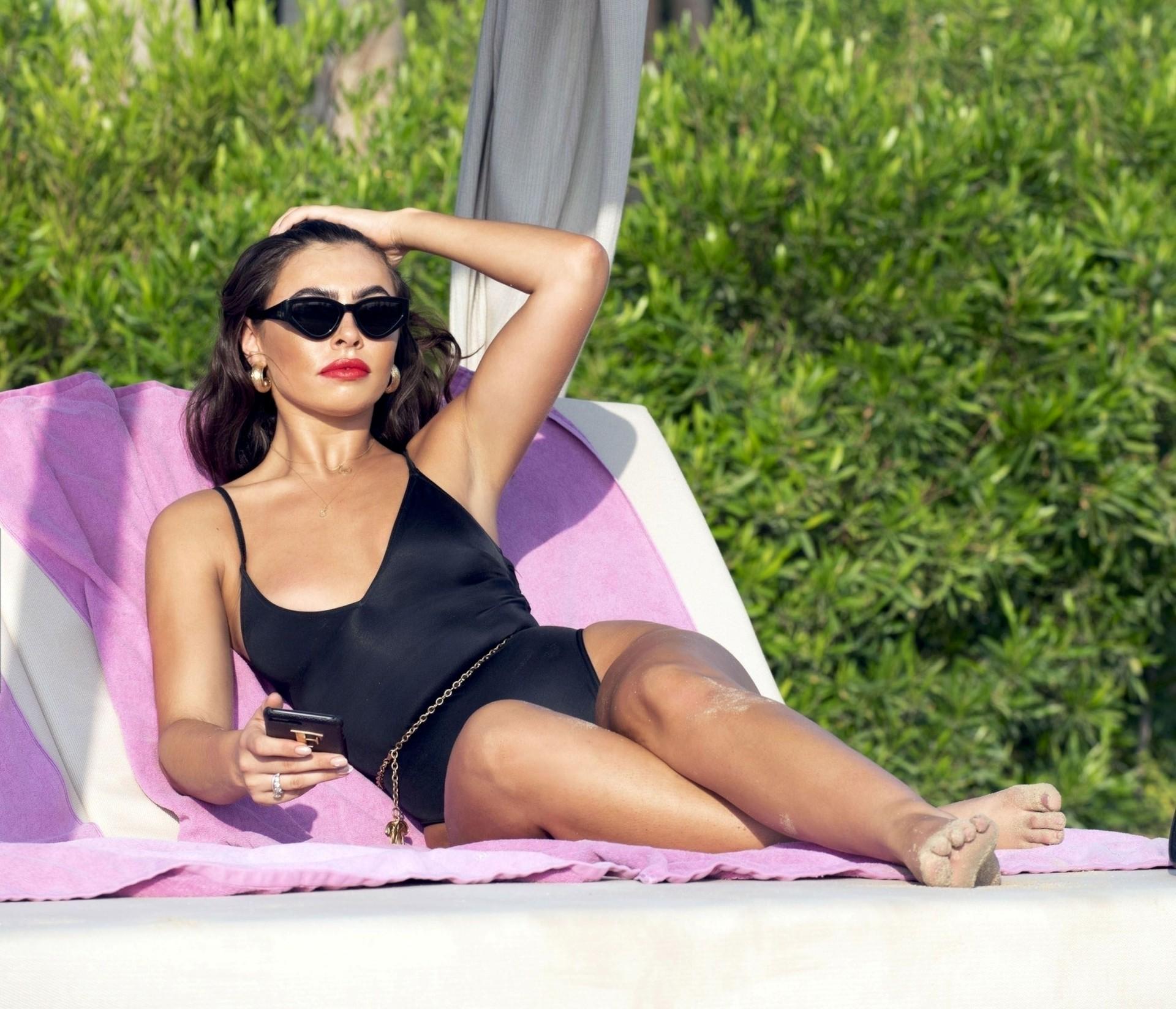 Francesca Allen Sexy Black Swimsuit