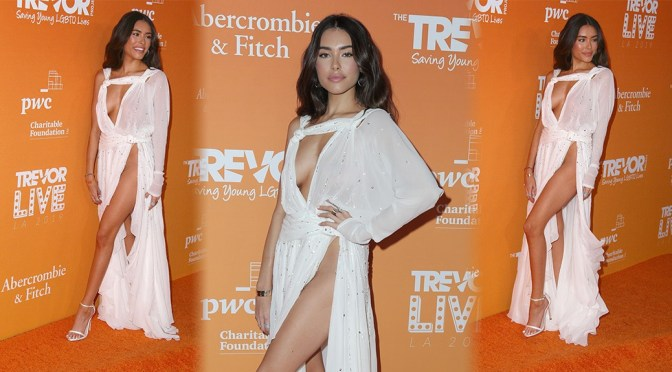 Madison Beer Braless And Leggy In Skimpy Dress