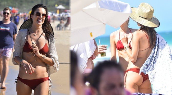 Alessandra Ambrosio – Sexy Red Bikini on the Beach in Florianopolis