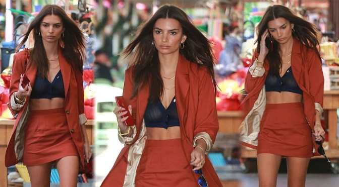 Emily Ratajkowski – Sexy Braless Boobs in Sheer Top at Grove in Los Angeles