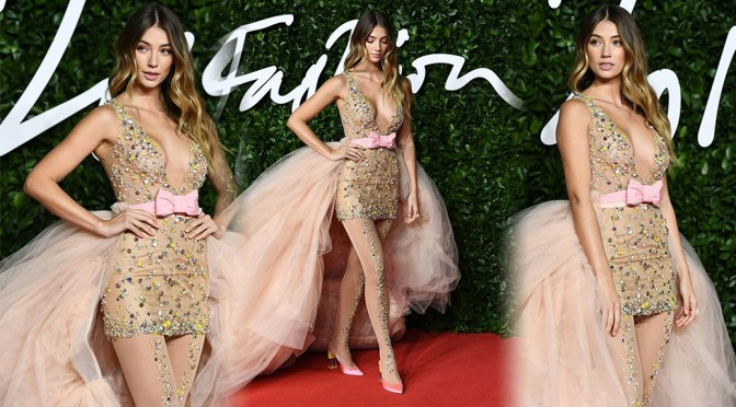 Lorena Rae – Sexy Boobs in  See-Through Braless Dress at The Fashion Awards 2019 in London