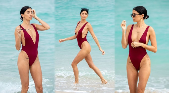 Nicole Williams – Sexy Boobs in Low-Cut Swimsuit at the Beach in Miami