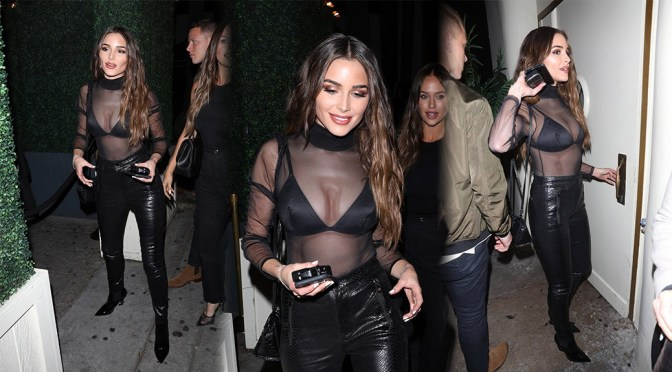 Olivia Culpo Sexy Boobs In Sheer Top