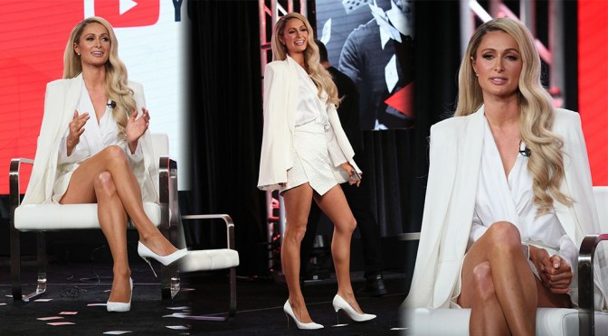 Paris Hilton – Sexy Legs at Youtube Winter TCA Presentation in Pasadena