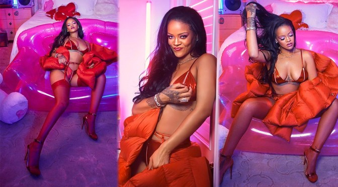Rihanna – Sexy Big Boobs in Red Lingerie Photoshoot