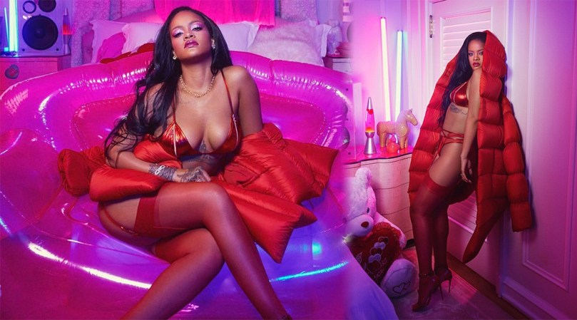 Rihanna Sexy Big Boobs In Red Lingerie