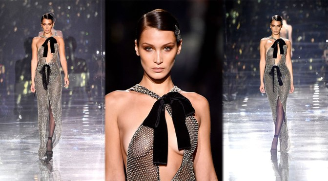 Bella Hadid – Sexy Nipples in See-Through Dress at Tom Ford AW20 Fashion Show in Hollywood