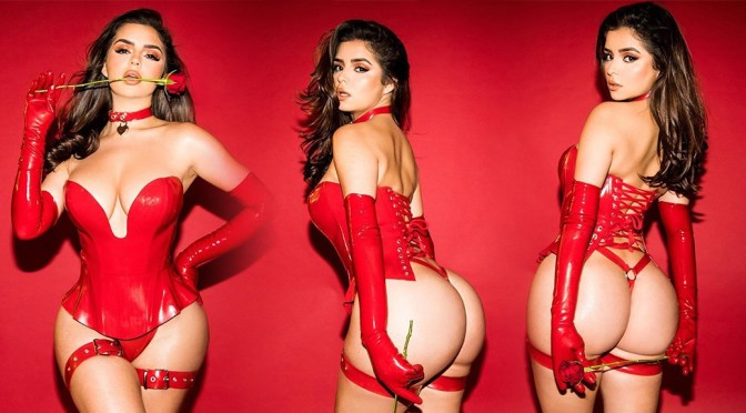 Demi Rose Mawby – Sexy Big Ass in Red Thong for Valentine's Day Photoshoot
