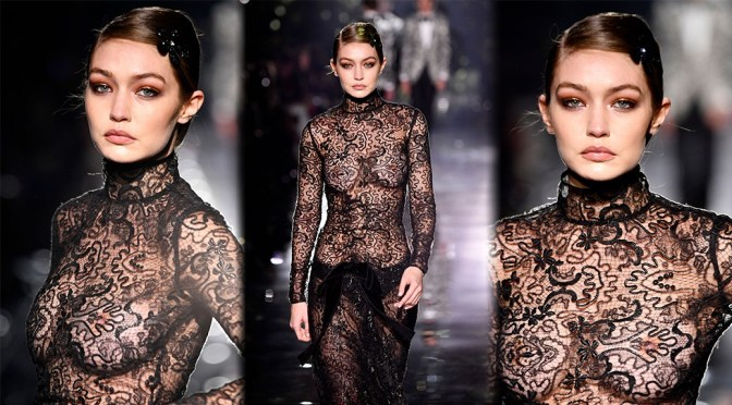 Gigi Hadid – Sexy Boobs and Nipples in See-Through Dress at Tom Ford AW20 Fashion Show in Hollywood