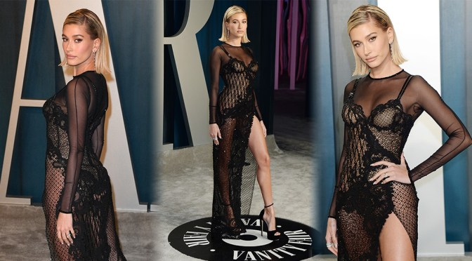 Hailey Baldwin – Sexy Legs in Sheer Dress at 2020 Vanity Fair Oscar Party in Beverly Hills