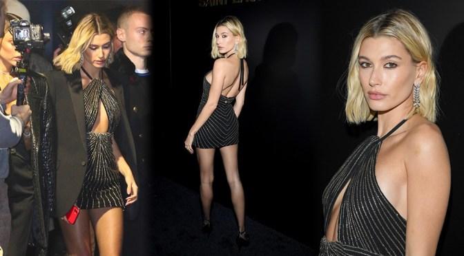 Hailey Baldwin – Sexy Long Legs at Saint Laurent Fashion Show in Paris