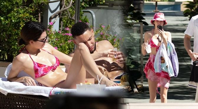 Kendall Jenner – Sexy Boobs in Small Bikini at Pool in Miami