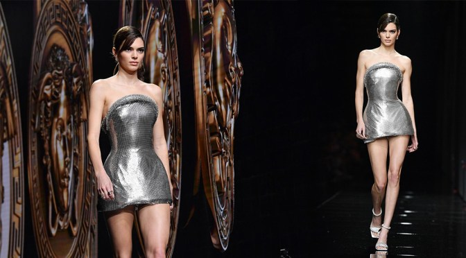 Kendall Jenner – Hot Legs in Short Dress at Versace Fashion show in Milan