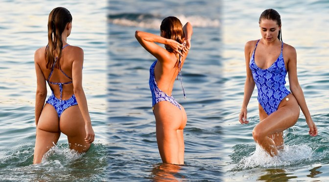 Kimberley Garner – Sexy Perfect Ass in a Swimsuit at the Beach in Miami