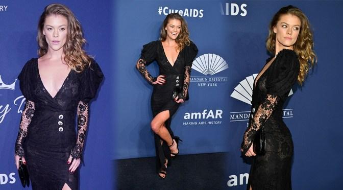 Nina Agdal – Braless BOobs in Sexy SHeer Dress at 2020 amfAR New York Gala