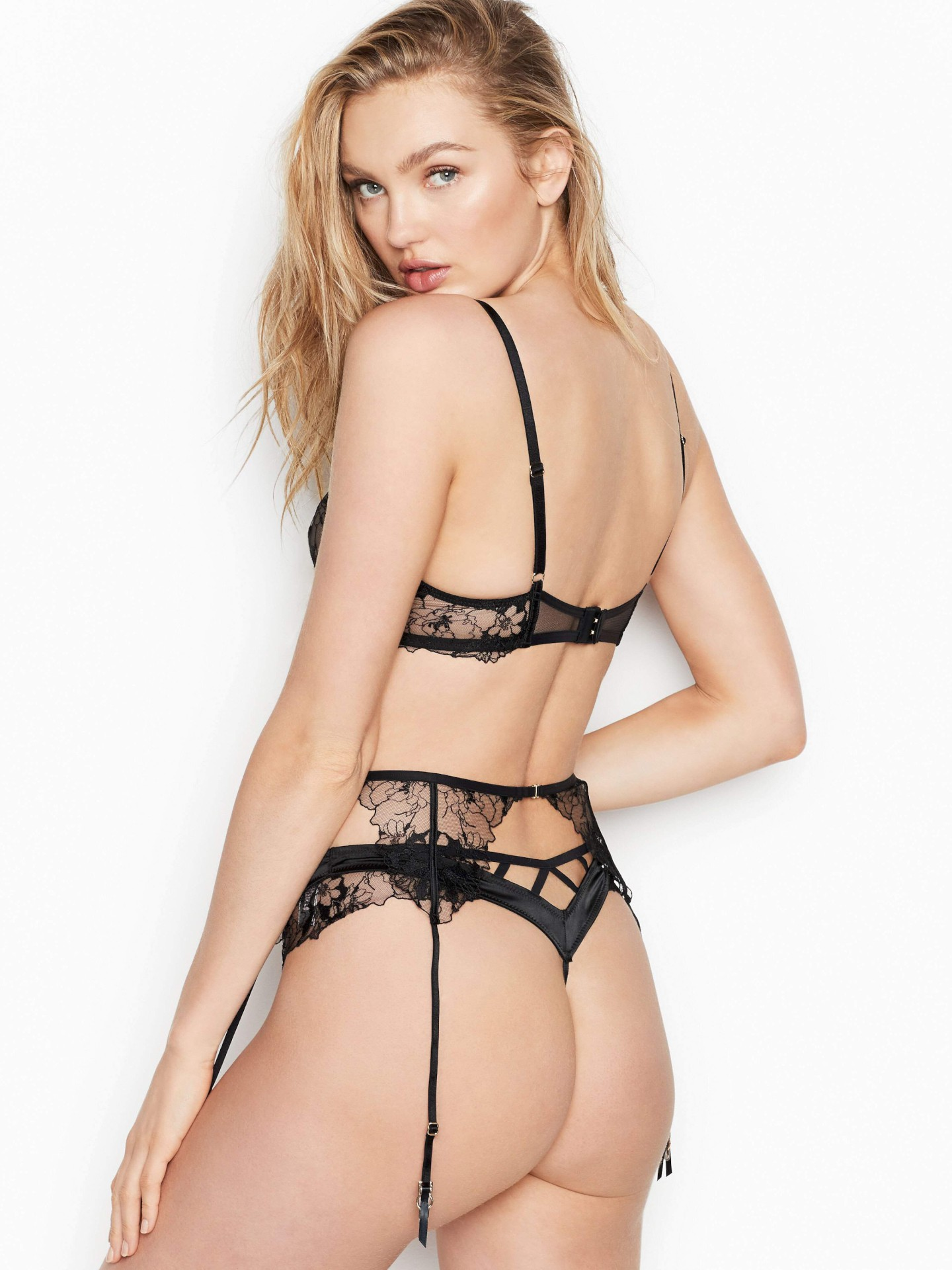 Romee Strijd Sexy Ass And Boobs In See Through Lingerie